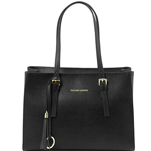 Tuscany Leather TL Bag Saffiano leather handbag Black by Tuscany Leather
