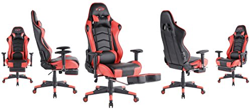 Top Gamer Ergonomic Gaming Chair High Back Swivel Computer Office Chair with Footrest Adjusting Headrest and Lumbar Support Racing Chair (Red-0003)