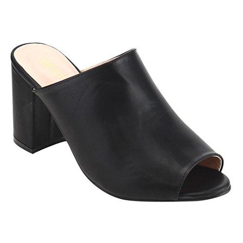 Sassy Black Peep Toe Heels - 5