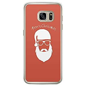 Loud Universe Samsung Galaxy S7 Edge Christmas 2014 Merry Christmas Printed Transparent Edge Case - Peach/White