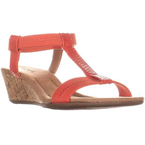 Alfani Womens Voyage Open Toe Casual T-Strap Sandals, Coral, Size 8.0