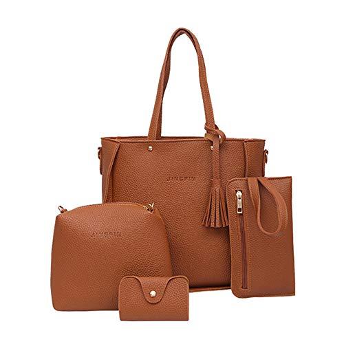 Clearance!! 4 Pcs Womens Bags SFE Women Four Set Handbag Shoulder Bags Tote Bag Crossbody Wallet Bags (Brown)