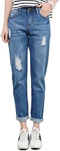 RieKet Skinny Distressed Pants high waisted Juniors Boyfriend Jeans women