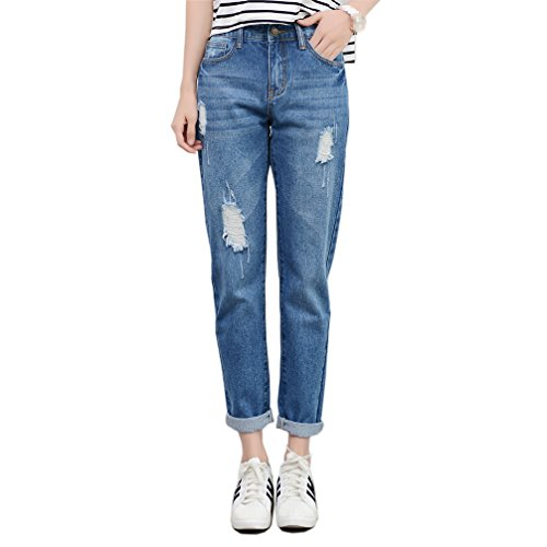 RieKet Boyfriend Distressed Jeans Women Slim Pants Juniors (US 4(Asia XL), Blue)