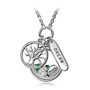 """NinaQueen """"Tree of Life"""" 925 Sterling Silver Locket Pendant Dream and Hope Women Fine Necklace Chain """"Ideal Birthday Gift"""""""