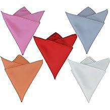 5 Pcs Heymei Men's Pocket Handkerchief Hanky Pocket Squares Solid Color HCQ02 (Red Pink Grey Orange White)