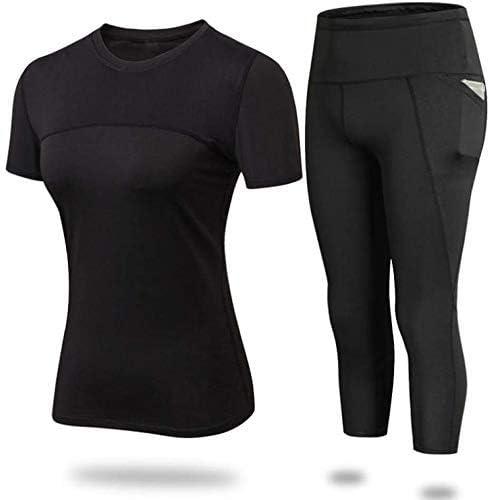 女性のハイウエスト安全パンツ、ジムスポーツトップスを実行しているフィットネスの服セットスポーツウェアブラックスーツ