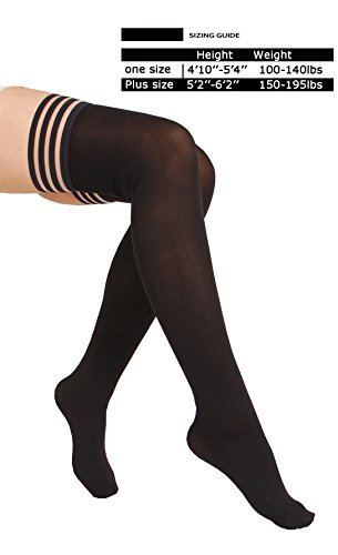 Top Opaque Lace (4 Pair Women's Antiskid Silicone Lace Top Opaque Thigh High Silk Stockings-blackA)
