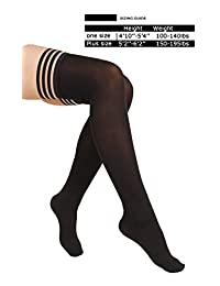 4 Pair Women's Antiskid Silicone Lace Top Opaque Thigh High Stockings