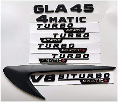 Dmwfaker Autos Chrombuchstabe Abzeichen Emblem Aufkleber, für Mercedes Benz AMG X156 W156, Schwarze Buchstaben GLA45 V8 BITURBO Turbo 4MATIC, Emblemabzeichen