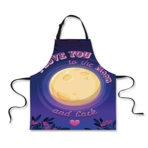 Cooking Apron,I Love You,Vibrant Full Moon at Night Surround