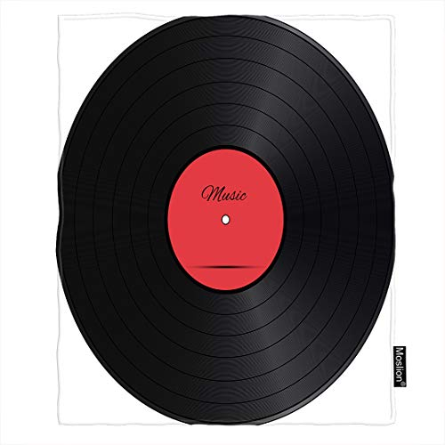 Moslion Music Throw Blanket Retro Vinyl Disc Round Circle Pop Music Album Melody Blanket Home Decorative Flannel Warm Travel Blankets 30x40 Inch for Pet Dog Cat Black Red White