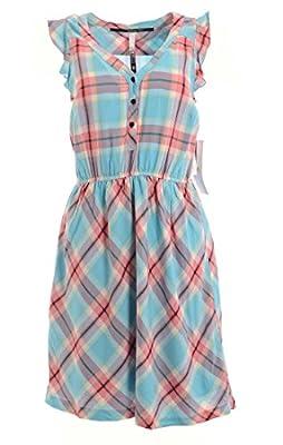 Kensie Women's Plaid Flutter Sleeve Shirt Dress