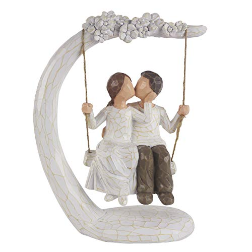 DreamsEden Swing Kiss Couple Figurines - Romantic Loving Sculpture Resin Home Decorations with Gift Card for Valentine's Day Anniversary