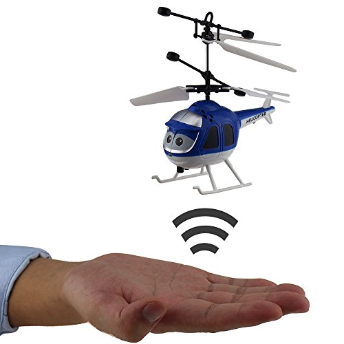 Tipmant Mini Infrared Induction Helicopters Hand Sensor Airplane Aircraft Kids Electric Toy Gift (No Remote Control) – Blue