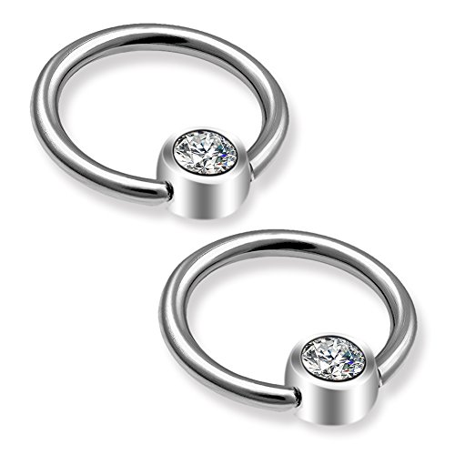 (OUFER 16G Grade 23 Solid Titanium No Allergy Captive Bead Rings Body Piercing Hoops Daith Cartilage Tragus Earrings)