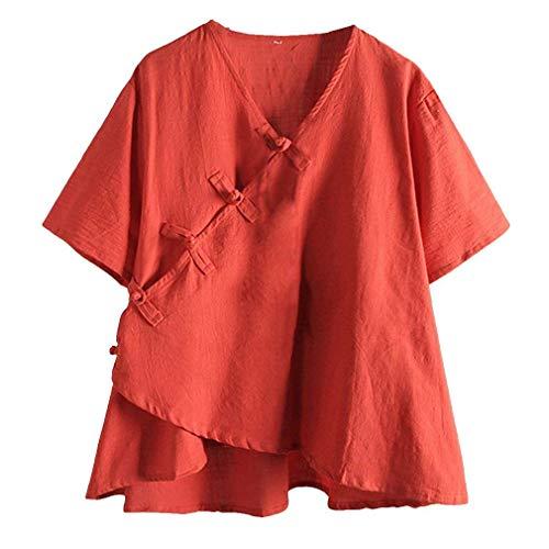 Vintage Mode 7 Cou Irrgulier Uni Vetement Basic Asymtrique Tunique V Top Large Manche Style Elgante Courtes Manches Chemisiers Dcontract Femme Tee Blouse Ethnique Lin Shirt Uz1S5Sqw