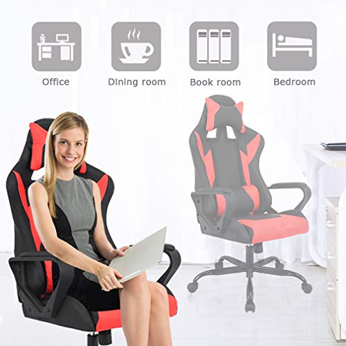 BestMassage Office Desk Gaming Chair High Back Computer Task Swivel Executive Racing Chair for BackSupport with Lumbar Support Armrest Adjust Headrest (Red)