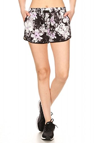 Blk Track - Pink Mint Active WEAR Tropical Print Brush Poly Track Shorts (LG, BLK/WHT/LAV Abstract Floral Print)