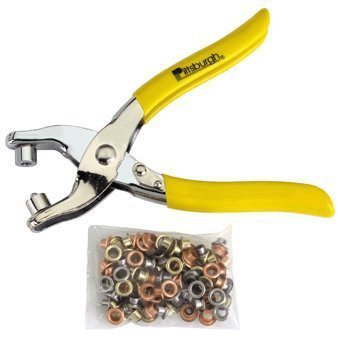 Grommet Pliers with Qty 100, 3/16'' Grommets of Brass, Steel, Copper