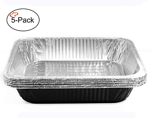 - Tiger Chef Half Size Black Disposable Aluminum Foil Steam Table Baking Pans, 12.75in x 10.38in x 2.5in Deep disposable Chafing Pans 5-Pack