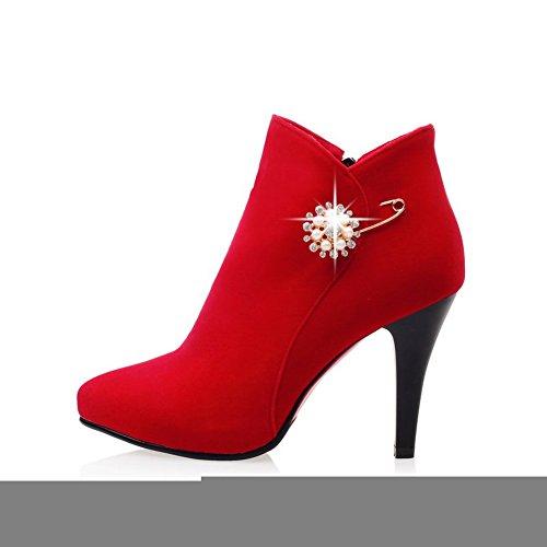 Adeesu Piattaforma Sxc02163 punta Di Camoscio Modo Stivali Donne Rosso Rhinestones Sottolineato Z0qRrZw
