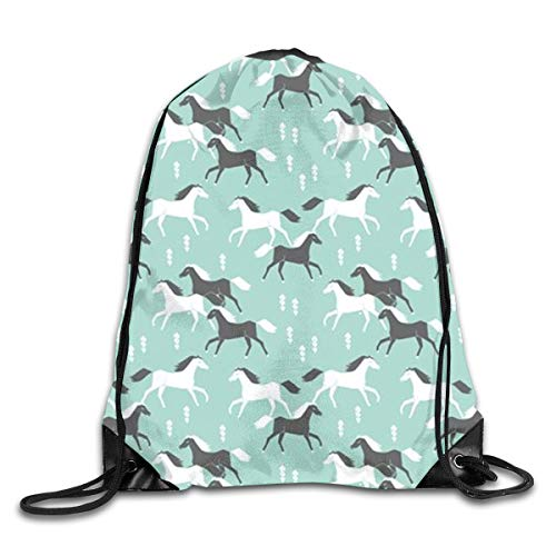 LLjxLin Western Horses Drawstring Bag Gym Sack Bag Sport Sack for Travel,Outdoor Activity,Sport,Party,Laundry