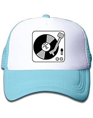 Turntable Music Vinyl Record Dj Mesh Hat Trucker Style Outdoor Sports Baseball Cap With Adjustable Snapback Strap...
