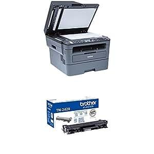 Brother MFCL2710DW - Impresora multifunción láser monocromo con fax e impresión dúplex + Brother TN-2420 Laser cartridge 3000 páginas Negro tóner y cartucho láser