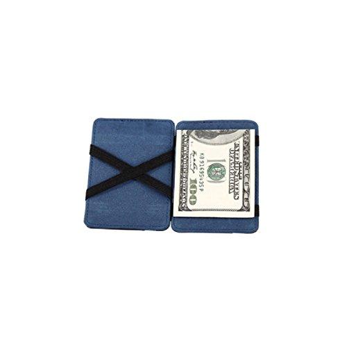 DDLBiz® Mini neutrale Grind magische Bifold Leder Card Wallet Geldbörse (Blau)