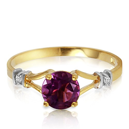 0.92 Carat 14k Solid Gold Ring with Natural Diamonds and Amethyst - Size 11 by Galaxy Gold