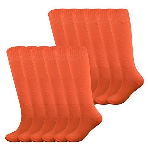 Fitliva Baseball Socks Orange Tube Socks Sports Meeting Team Socks (12Pack-Neon Orange) for $<!--$31.98-->