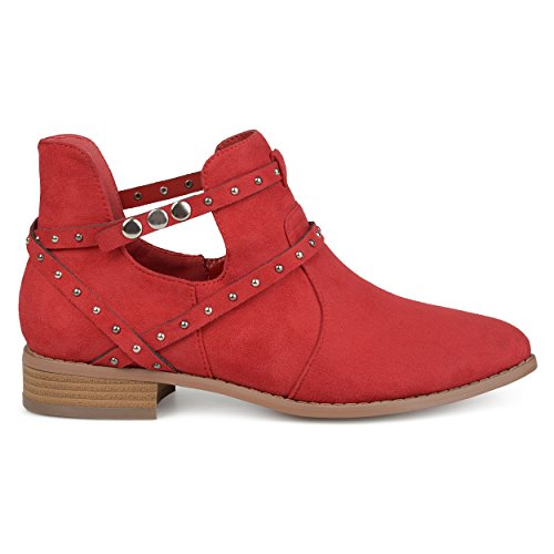 Brinley Co Womens Olly Faux Suede Studded Wrap Strap Side Cut-Out Pointed Toe Ankle Booties Red QSWbSBW