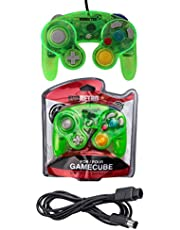 Transparent Green Controller and 6ft Extension Cable Set –Compatible with Nintendo Gamecube, Switch, Wii U and PC by EVORETRO