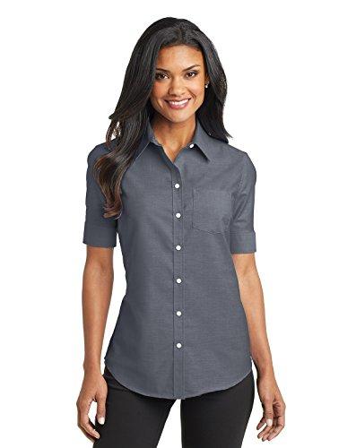 Port Authority Ladies Short Sleeve SuperPro Oxford Shirt. L659 Black S