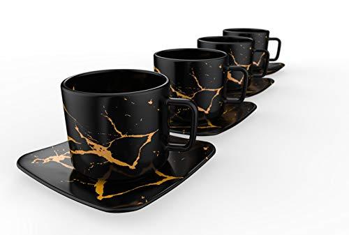 Modern Cappuccino Cups, Latte Cups, or Tea Mugs - Italian Designed - Premium set of 4 Cups and Saucers - 2020 (Black)