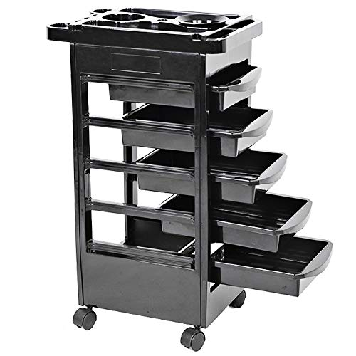 Hair Salon Instrument Storage Cart Rolling Trolley Equipment Rolling Storage Adjustable Height Trolley Beauty Tools with 5 Drawers for Tool Storage Beauty Salon Spa Styling Station (92cm/36inch)