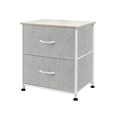 WLIVE Dresser with 2 Drawers, Fabric Storage Tower, Organizer Unit, Nightstand for Bedroom, Hallway, Entryway, Closets, Sturdy Steel Frame, Wood Top, Easy Pull Handle