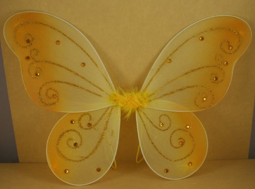 [Gold Butterfly Fairy Costume Wings 17