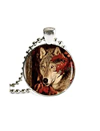 Wolf Necklace Pendant Animal Vintage Silver Chain Choker Statement Necklace