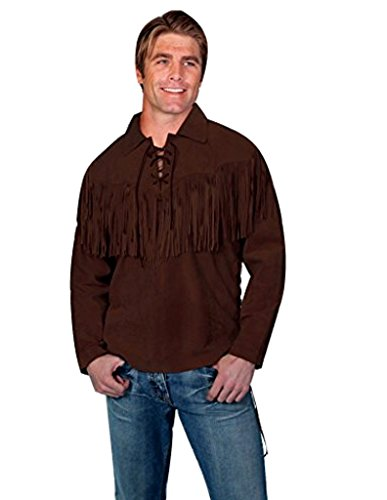 Scully Men's Fringed Boar Suede Leather Shirt Chocolate Medium