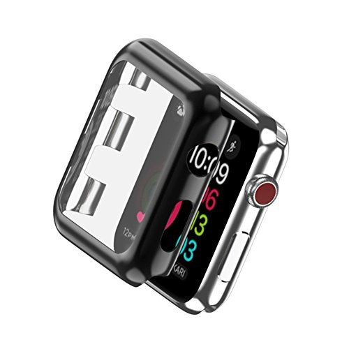 HONTECH Apple Watch Case Series 3 Super Thin PC Plated Protective Bumper iWatch Case Cover 38mm 42mm (42mm, Black)