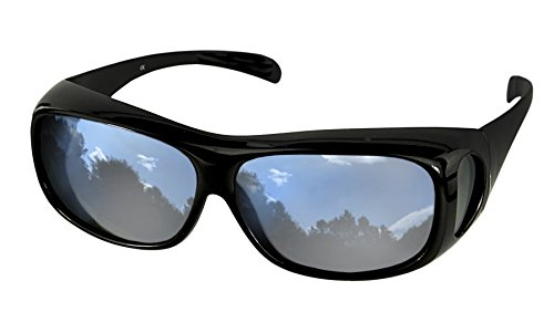 LensCovers Sunglasses - Wear Over Prescription Glasses. Size Large Slim with Reflective - Prescription Sunglasses Dark