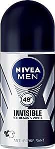 NIVEA MEN Invisible Black and White Roll On Anti-Perspirant Deodorant, 50ml