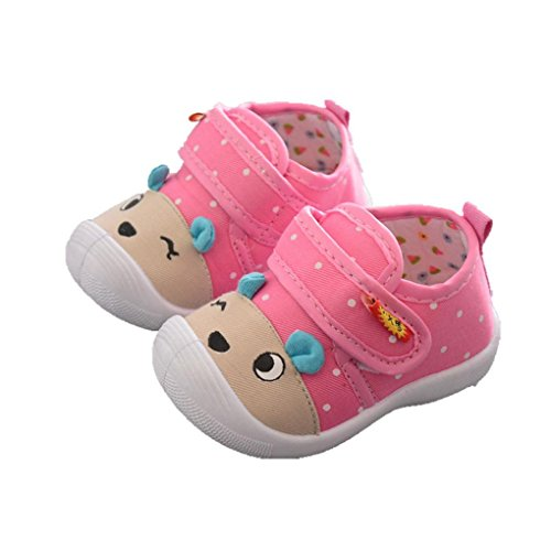 Dainzuy Infant Baby Boys Girls Cartoon Animal Print Squeaky Sandals Shoes Sneakers (24M US:4 Size(CN):19, Pink) -