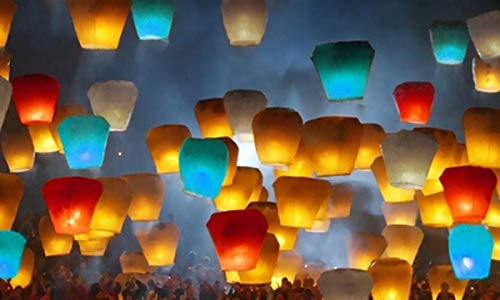 Sky Lanterns - 100% Biodegradable Environmentally Friendly Paper Lanterns Multi-Color Assortment for Birthdays, Weddings, Parties, New Years, Memorial Ceremonies and More (10 Pack) -
