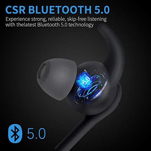 Nice Bluetooth Headphones,Bluetooth 5.0 Wireless Sport Earphones, IPX7 Waterproof Running Headphones w/CVC 6.0 Noise Cancelling Mic, for Running, Gym  NZdaFsD