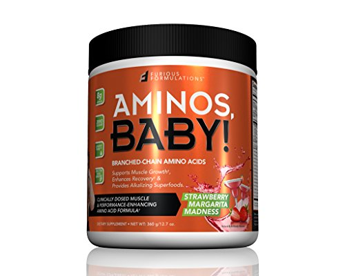 FURIOUS FORMULATIONS Aminos Baby Branched-Chain Amino Acids Strawberry Margarita Madness 12 7 oz 360 g