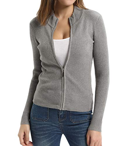 - Women Mock Neck Ribbed Zip Up Cardigan Grey-22 XXL