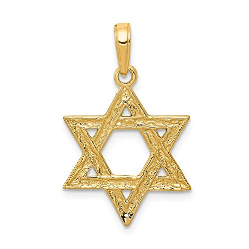 - 14k Yellow Gold Jewish Jewelry Star Of David Pendant Charm Necklace Religious Judaica Fine Jewelry Gifts For Women For Her